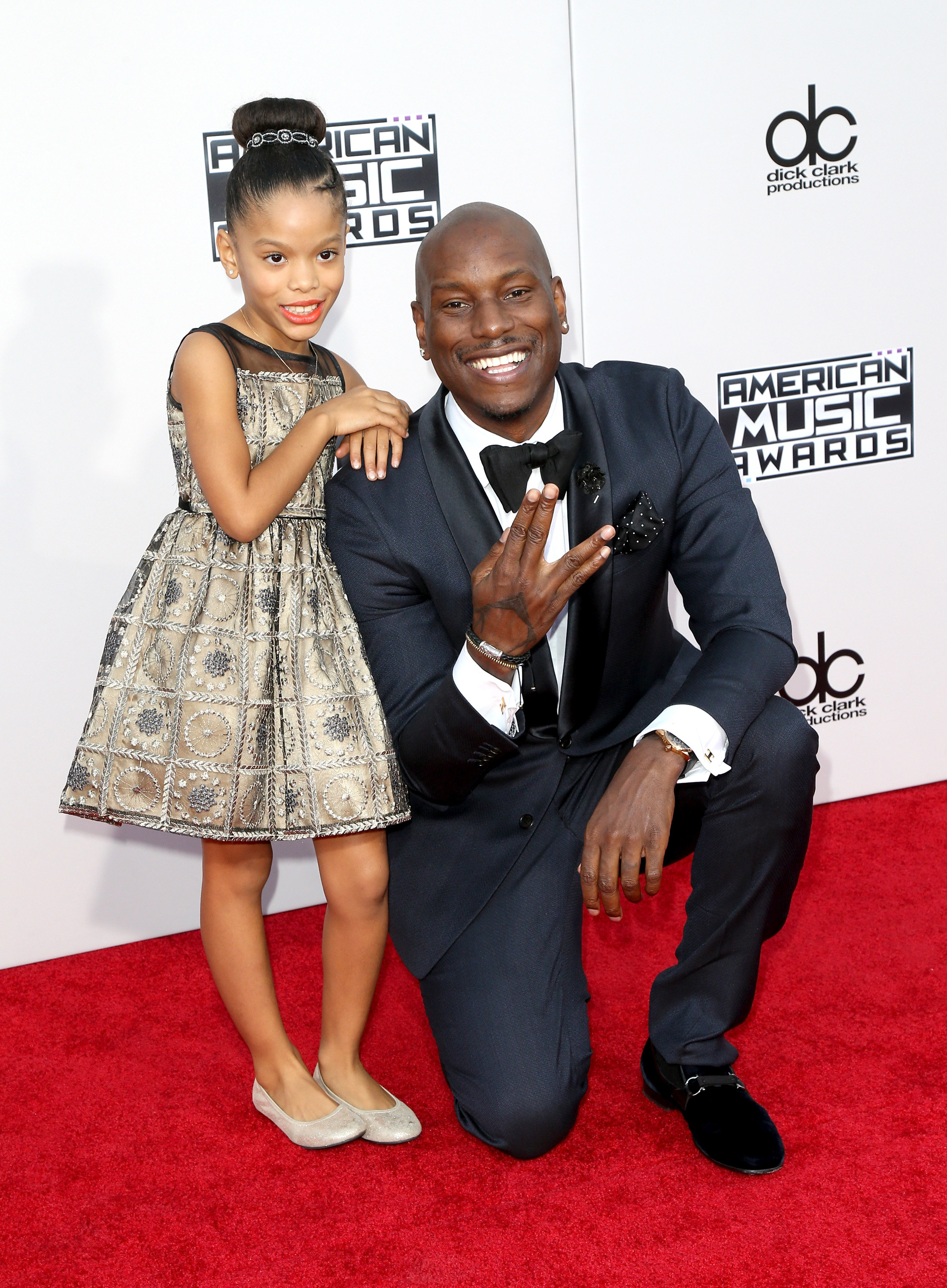 LOS ANGELES, CA - NOVEMBER 22:  Recording artist Tyrese Gibson and Shayla Gibson arrive at the 2015 American Music Awards at Microsoft Theater on November 22, 2015 in Los Angeles, California.  (Photo by David Livingston/Getty Images)